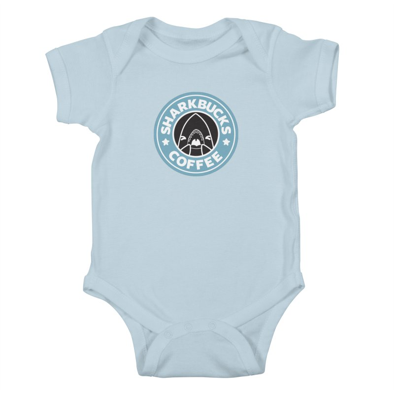 SHARKBUCKS (Blue) Kids Baby Bodysuit by Byte Size Treasure's Shop