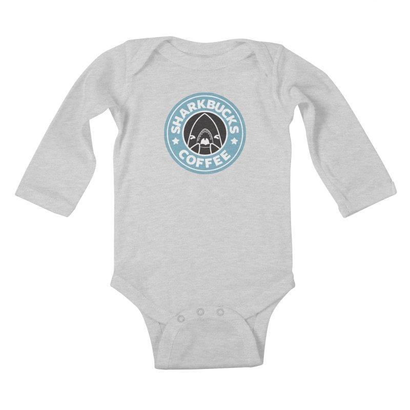 SHARKBUCKS (Blue) Kids Baby Longsleeve Bodysuit by Byte Size Treasure's Shop