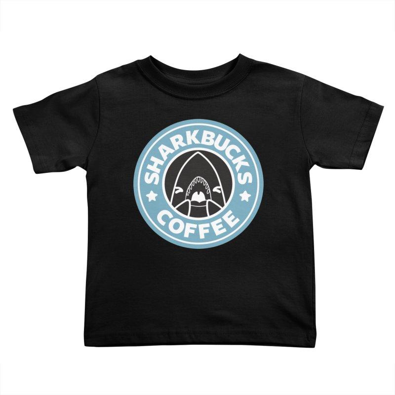 SHARKBUCKS (Blue) Kids Toddler T-Shirt by Byte Size Treasure's Shop