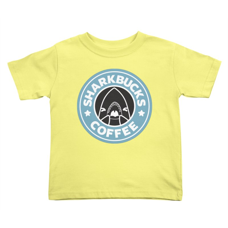 SHARKBUCKS (Blue) Kids Toddler T-Shirt by Byte Size Treasure's Shop