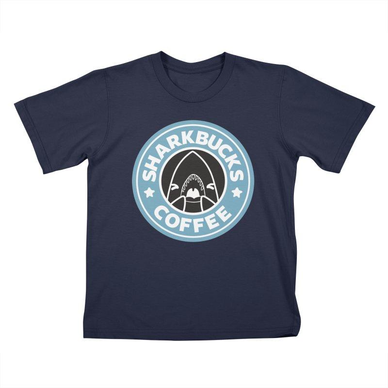 SHARKBUCKS (Blue) Kids T-Shirt by Byte Size Treasure's Shop