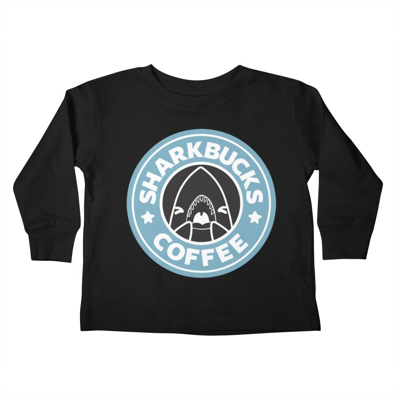 SHARKBUCKS (Blue) in Kids Toddler Longsleeve T-Shirt Black by Byte Size Treasure's Shop