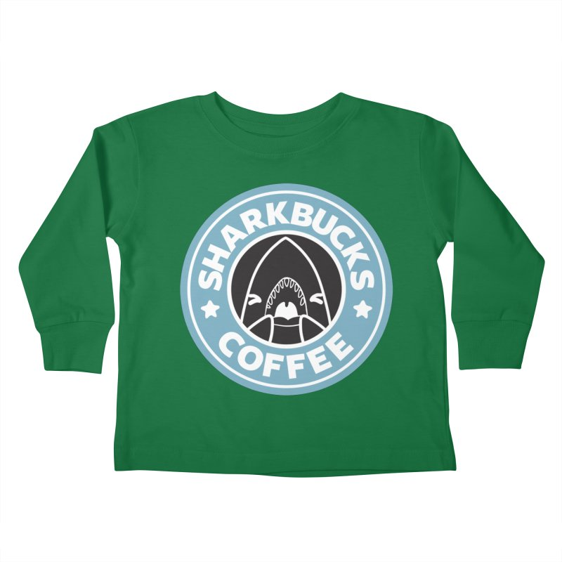 SHARKBUCKS (Blue) Kids Toddler Longsleeve T-Shirt by Byte Size Treasure's Shop