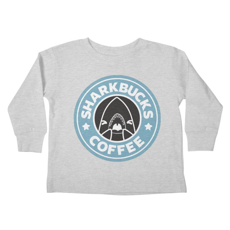 SHARKBUCKS (Blue) Kids Toddler Longsleeve T-Shirt by Byte Size Treasure's Shop
