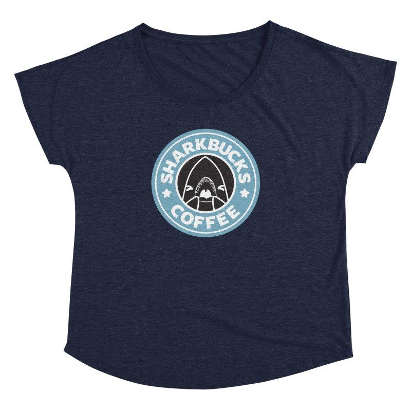 SHARKBUCKS (Blue) Women's Dolman Scoop Neck by Byte Size Treasure's Shop