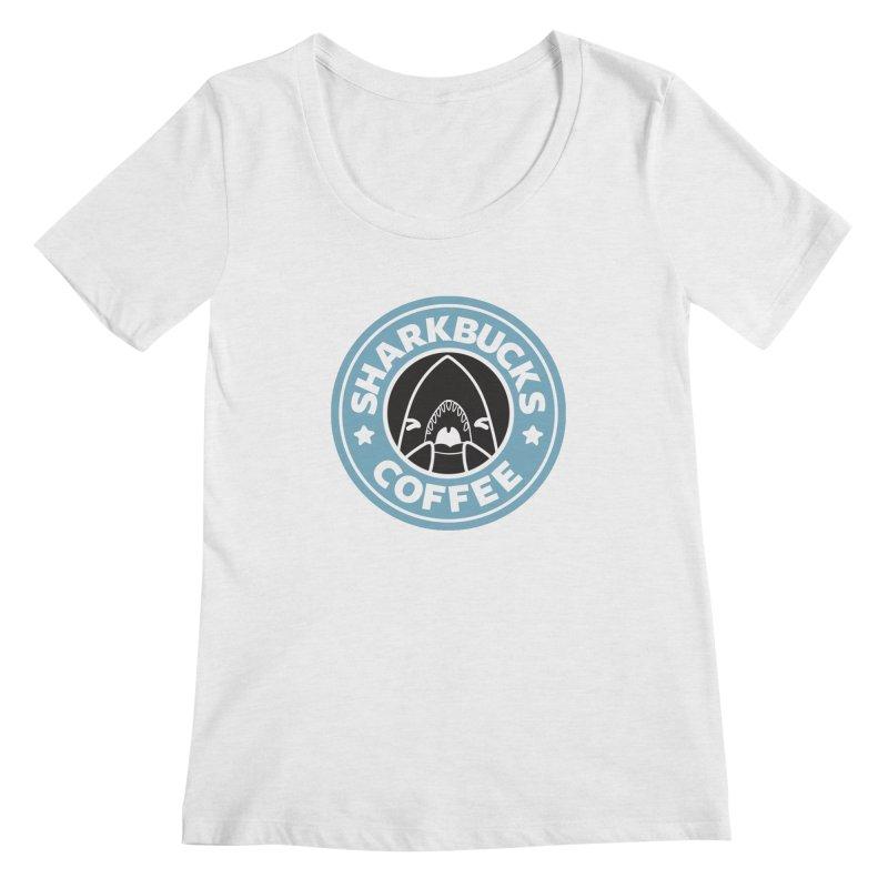SHARKBUCKS (Blue) Women's Regular Scoop Neck by Byte Size Treasure's Shop