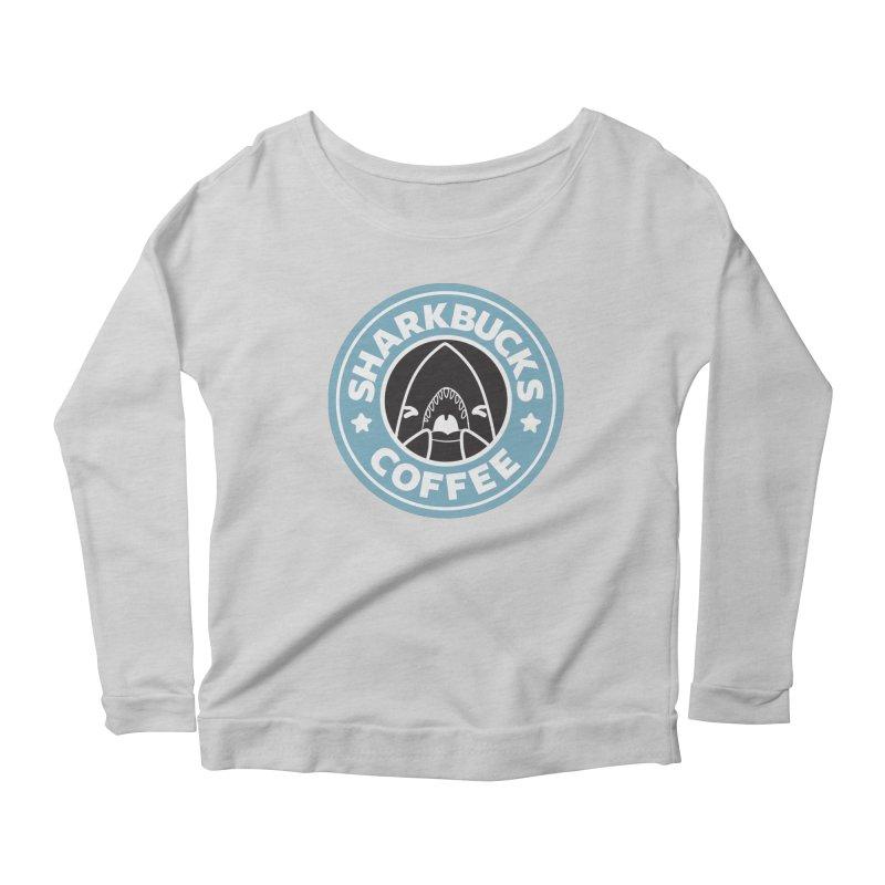 SHARKBUCKS (Blue) Women's Scoop Neck Longsleeve T-Shirt by Byte Size Treasure's Shop