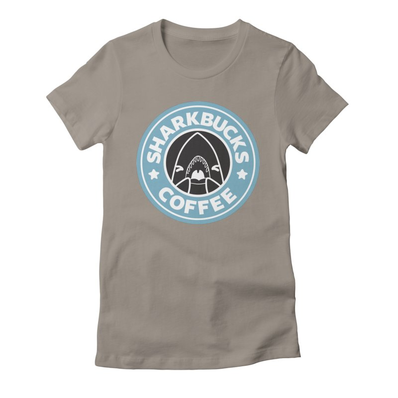 SHARKBUCKS (Blue) Women's Fitted T-Shirt by Byte Size Treasure's Shop