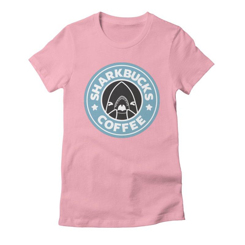 SHARKBUCKS (Blue) Women's Fitted T-Shirt by Byte Size Treasure's Shop