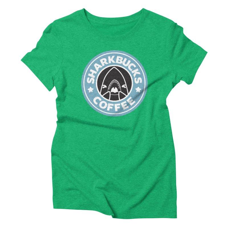 SHARKBUCKS (Blue) Women's Triblend T-Shirt by Byte Size Treasure's Shop