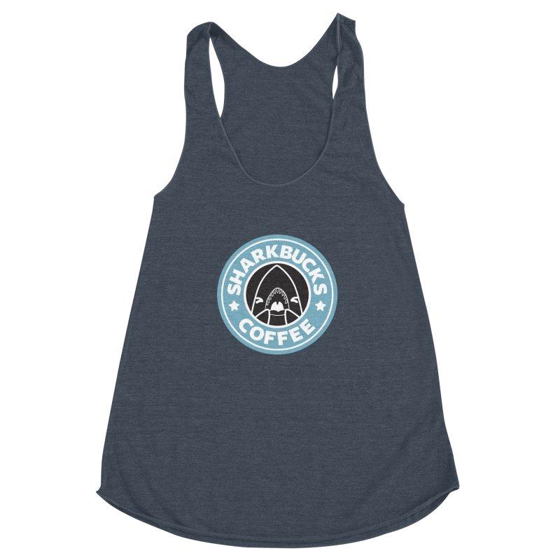 SHARKBUCKS (Blue) Women's Racerback Triblend Tank by Byte Size Treasure's Shop
