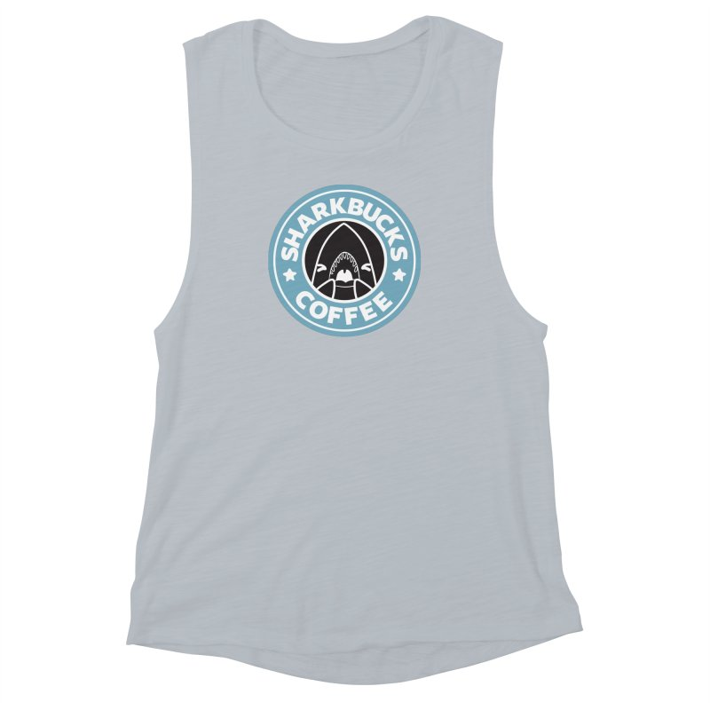 SHARKBUCKS (Blue) Women's Muscle Tank by Byte Size Treasure's Shop