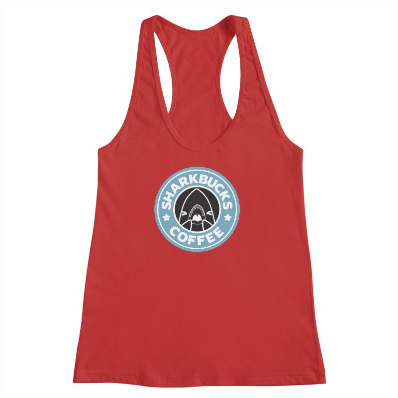SHARKBUCKS (Blue) Women's Racerback Tank by Byte Size Treasure's Shop