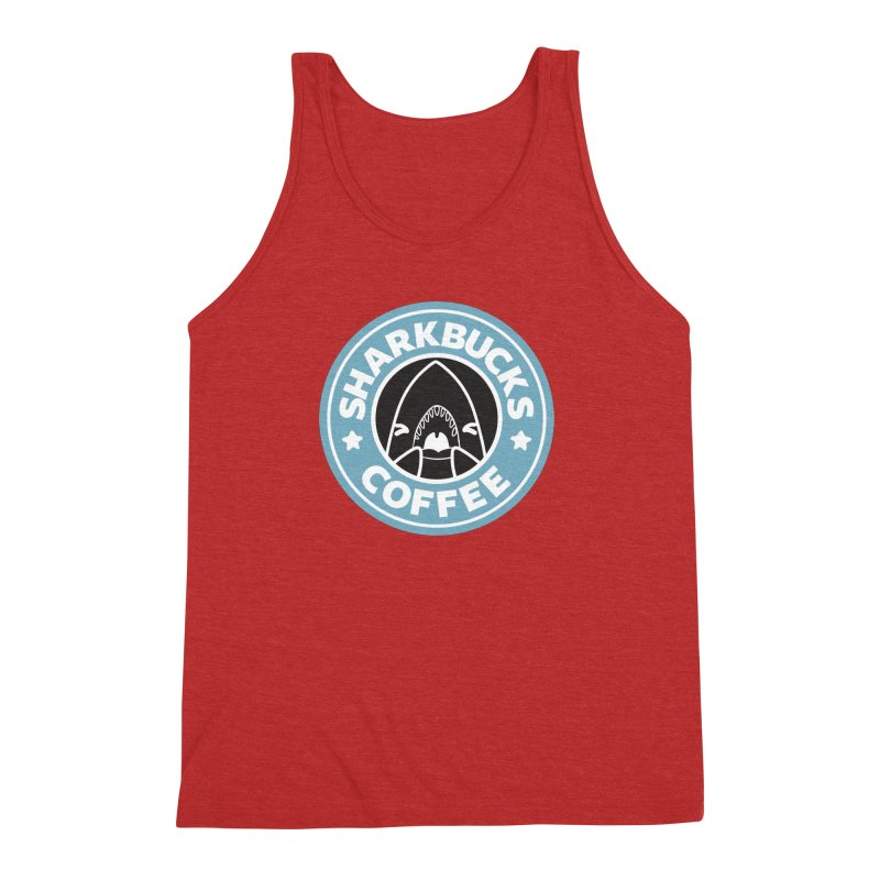 SHARKBUCKS (Blue) Men's Triblend Tank by Byte Size Treasure's Shop