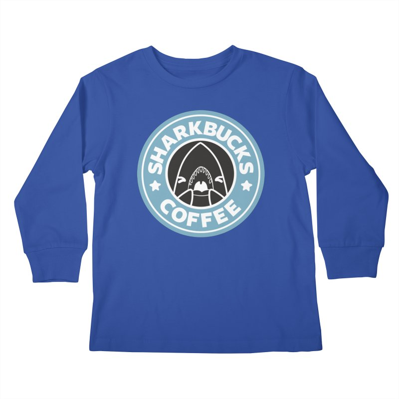 SHARKBUCKS (Blue) Kids Longsleeve T-Shirt by Byte Size Treasure's Shop
