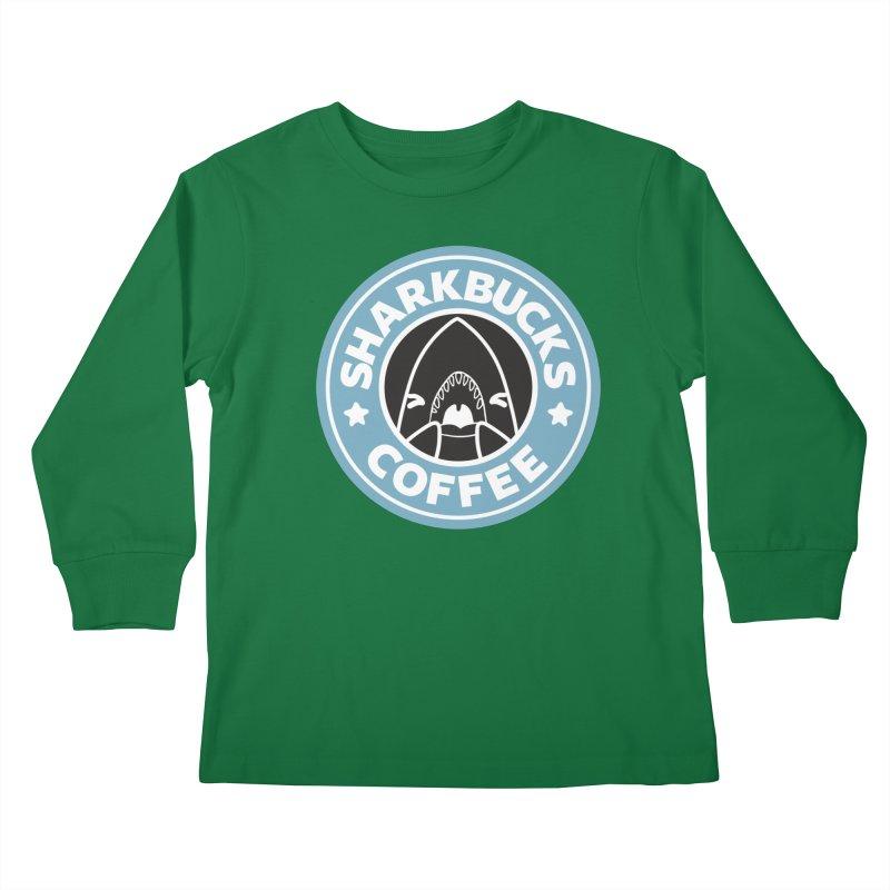SHARKBUCKS (Blue) Kids Longsleeve T-Shirt by Byte Size Treasure's Shop