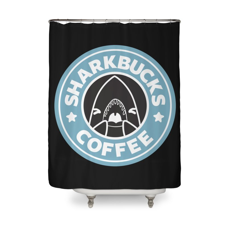 SHARKBUCKS (Blue) Home Shower Curtain by Byte Size Treasure's Shop