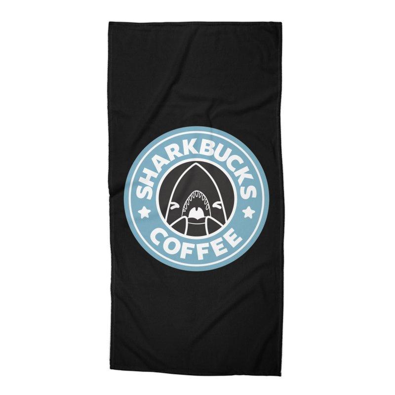 SHARKBUCKS (Blue) Accessories Beach Towel by Byte Size Treasure's Shop