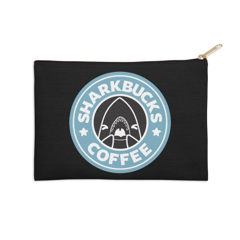 SHARKBUCKS (Blue) Accessories Zip Pouch by Byte Size Treasure's Shop