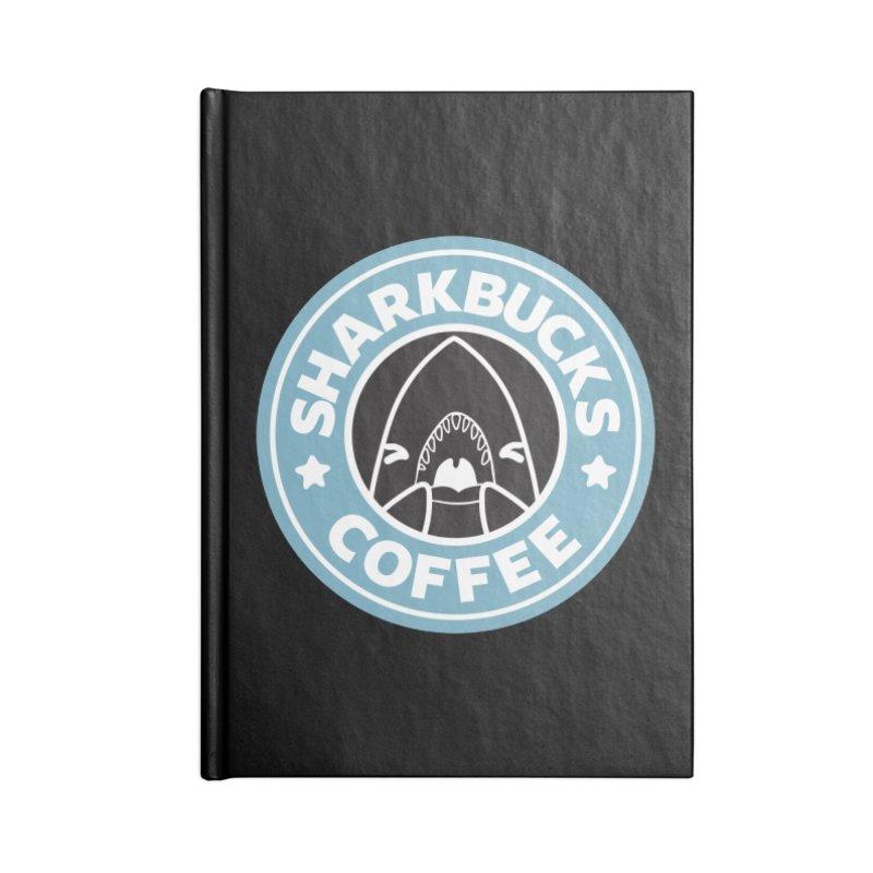 SHARKBUCKS (Blue) Accessories Blank Journal Notebook by Byte Size Treasure's Shop