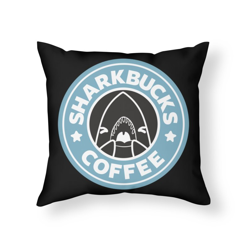 SHARKBUCKS (Blue) Home Throw Pillow by Byte Size Treasure's Shop
