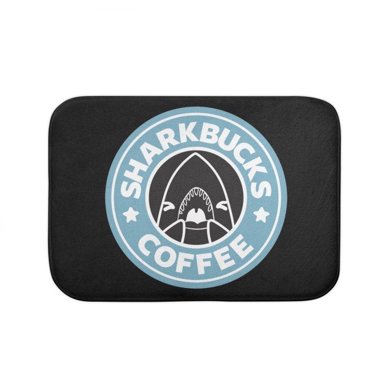 SHARKBUCKS (Blue) Home Bath Mat by Byte Size Treasure's Shop