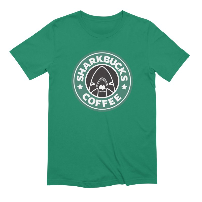 SHARKBUCKS (green) Men's Extra Soft T-Shirt by Byte Size Treasure's Shop