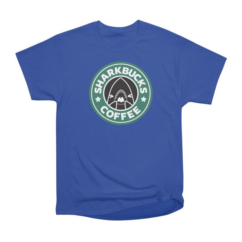 SHARKBUCKS (green) Men's Heavyweight T-Shirt by Byte Size Treasure's Shop
