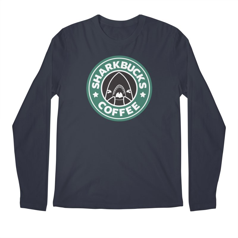 SHARKBUCKS (green) in Men's Regular Longsleeve T-Shirt Midnight by Byte Size Treasure's Shop