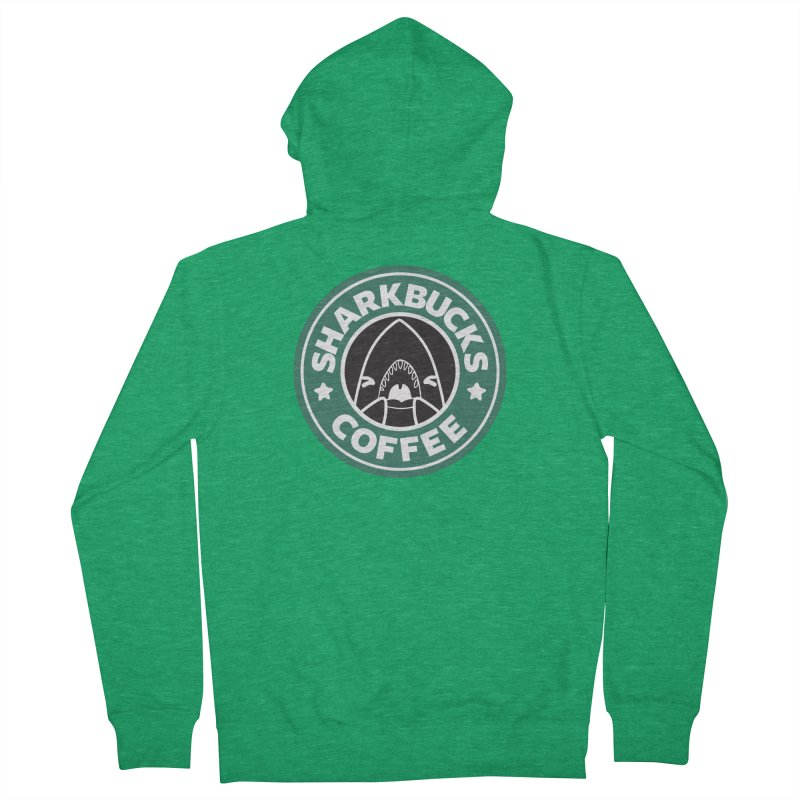 SHARKBUCKS (green) Men's French Terry Zip-Up Hoody by Byte Size Treasure's Shop