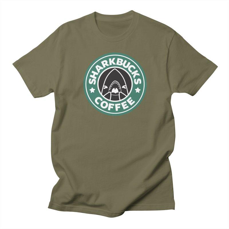 SHARKBUCKS (green) Women's Regular Unisex T-Shirt by Byte Size Treasure's Shop
