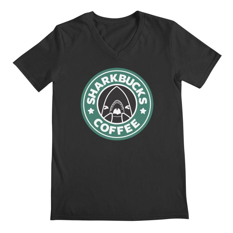 SHARKBUCKS (green) Men's Regular V-Neck by Byte Size Treasure's Shop