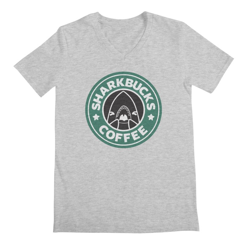 SHARKBUCKS (green) Men's Regular V-Neck by Byte Size Treasure's Shop