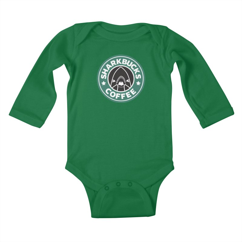 SHARKBUCKS (green) Kids Baby Longsleeve Bodysuit by Byte Size Treasure's Shop