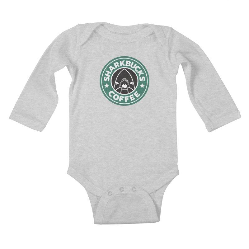 SHARKBUCKS (green) Kids Baby Longsleeve Bodysuit by Byte Size Treasure's Shop
