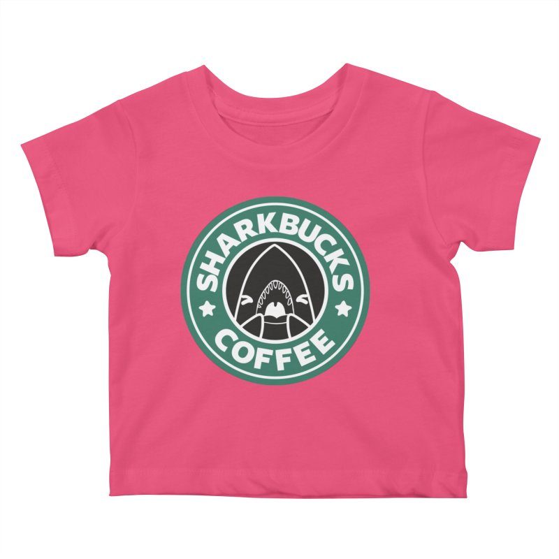 SHARKBUCKS (green) Kids Baby T-Shirt by Byte Size Treasure's Shop