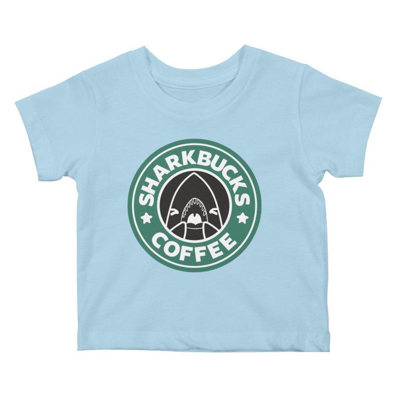 SHARKBUCKS (green) Kids Baby T-Shirt by Byte Size Treasure's Shop
