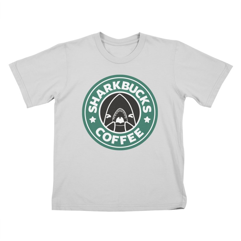 SHARKBUCKS (green) Kids T-Shirt by Byte Size Treasure's Shop