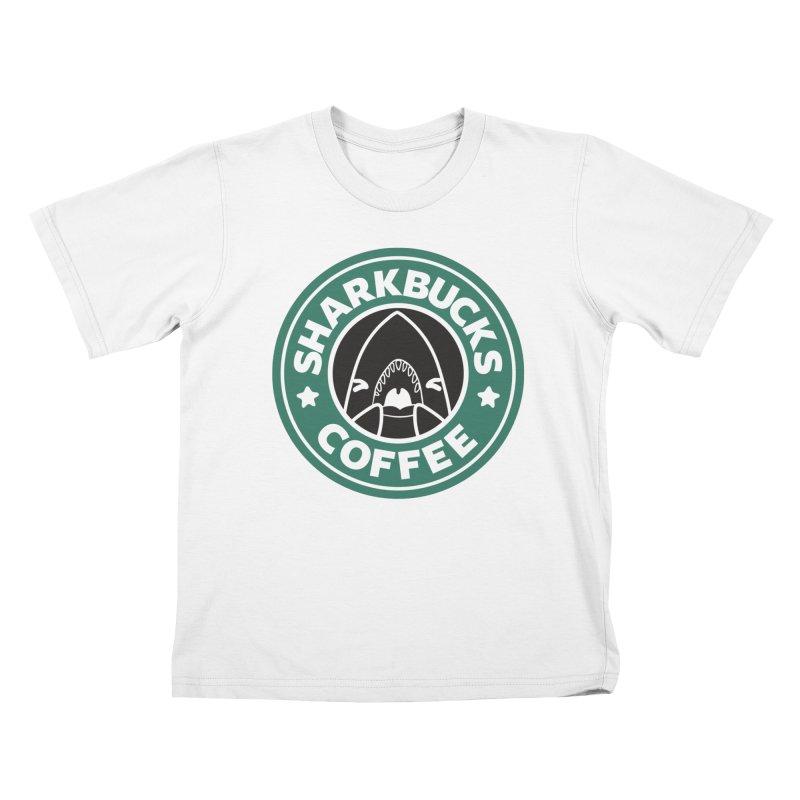 SHARKBUCKS (green) Kids T-Shirt by Byte Size Treasure's Shop