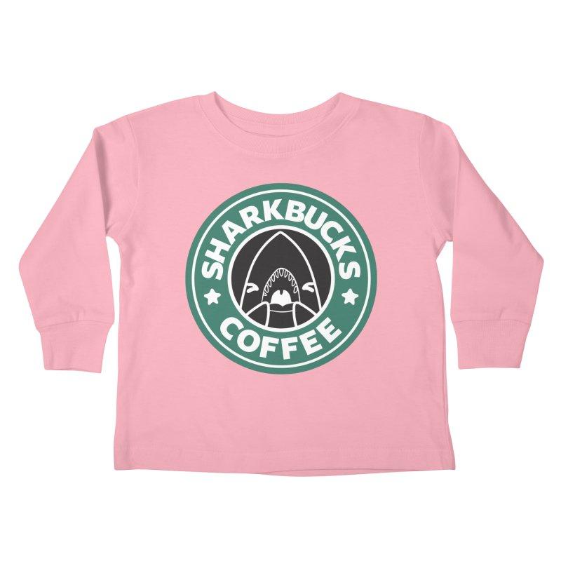 SHARKBUCKS (green) Kids Toddler Longsleeve T-Shirt by Byte Size Treasure's Shop
