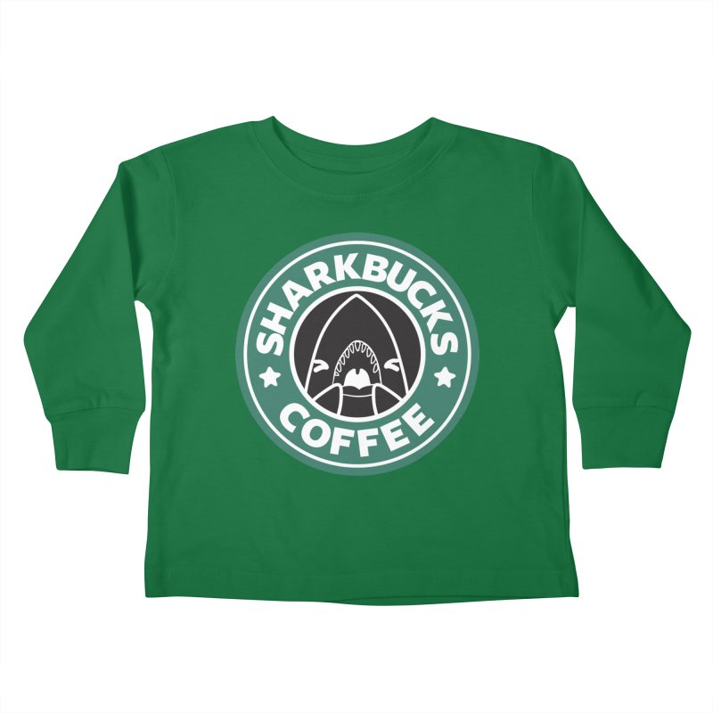 SHARKBUCKS (green) Kids Toddler Longsleeve T-Shirt by Byte Size Treasure's Shop