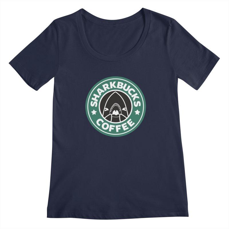 SHARKBUCKS (green) Women's Regular Scoop Neck by Byte Size Treasure's Shop
