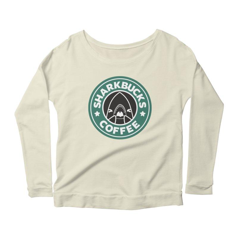 SHARKBUCKS (green) Women's Scoop Neck Longsleeve T-Shirt by Byte Size Treasure's Shop