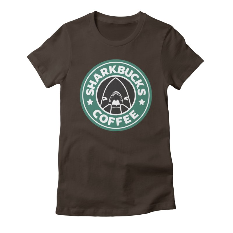 SHARKBUCKS (green) Women's Fitted T-Shirt by Byte Size Treasure's Shop