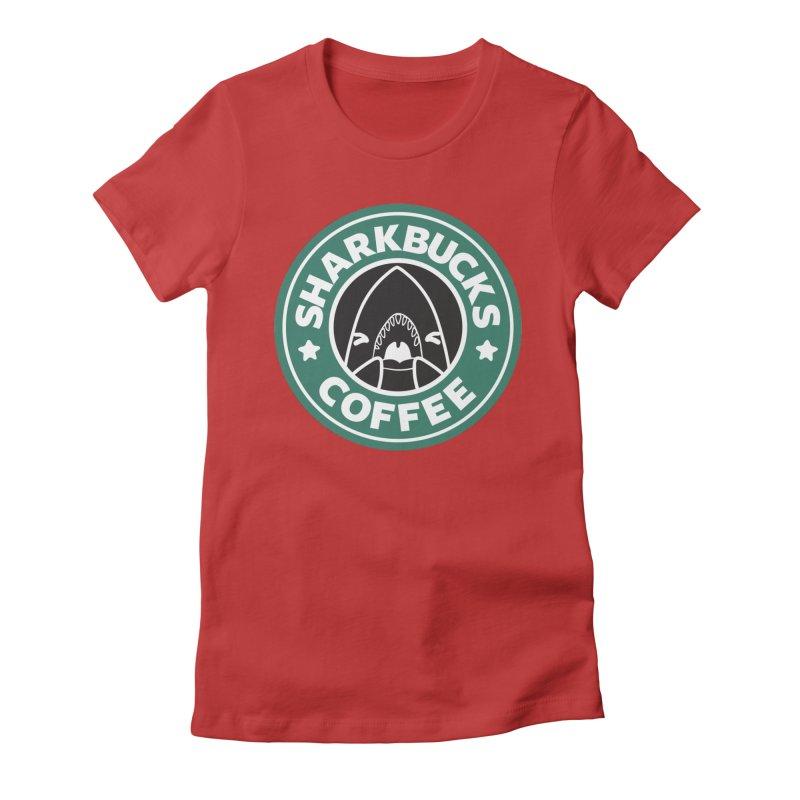 SHARKBUCKS (green) Women's Fitted T-Shirt by Byte Size Treasure's Shop