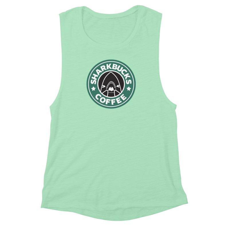 SHARKBUCKS (green) Women's Muscle Tank by Byte Size Treasure's Shop