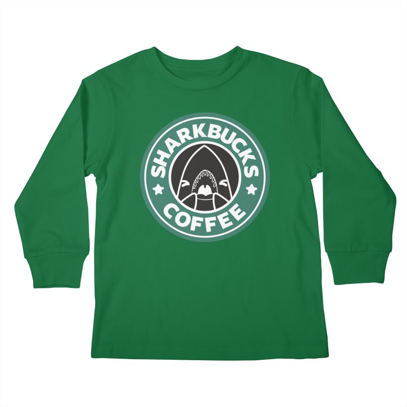 SHARKBUCKS (green) Kids Longsleeve T-Shirt by Byte Size Treasure's Shop