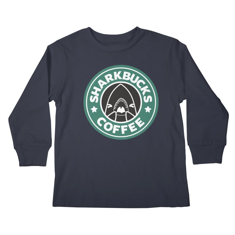 SHARKBUCKS (green) Kids Longsleeve T-Shirt by Byte Size Treasure's Shop
