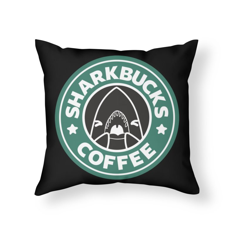 SHARKBUCKS (green) Home Throw Pillow by Byte Size Treasure's Shop