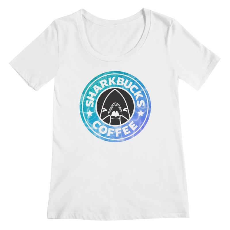SHARKBUCKS (water) Women's Regular Scoop Neck by Byte Size Treasure's Shop